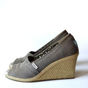 TOMS | Espadrilles Open Toe Wedge Canvas Shoe